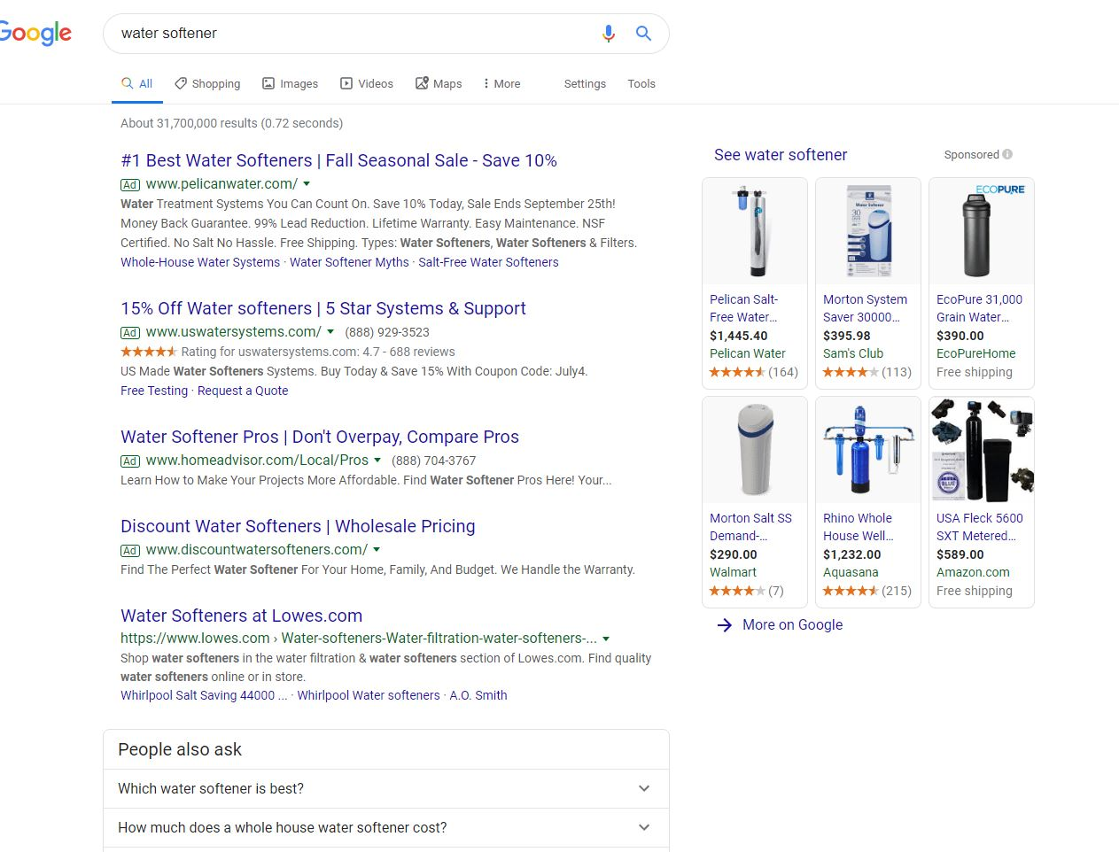 Water Softener Search Results